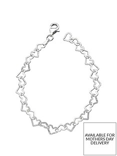 the-love-silver-collection-sterling-silver-diamondnbspcut-heart-braceletnbsp