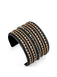 fiorelli-black-and-multi-crystal-beaded-cuff-bangle