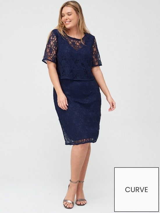 fd89eeadf019 V by Very Curve Double Layer Lace Midi Dress - Navy | very.co.uk