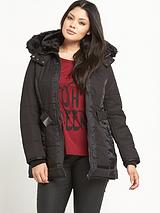 Faux Fur Trim Padded Belted Coat