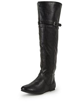 Shoe Box Sonata Knee High PU Flat Boot