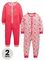 Girls Cat Sleepsuits (2 Pack)
