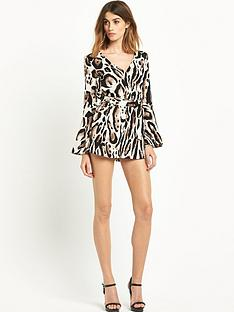 river-island-river-island-animal-print-flute-sleeve-playsuit