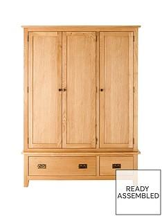 London 3-Door, 2-Drawer Oak Wardrobe