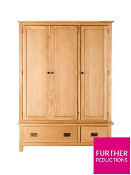 london-3-door-2-drawer-solid-oak-wardrobe