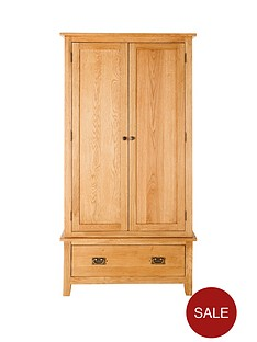 london-2-door-1-drawer-solid-oak-wardrobe