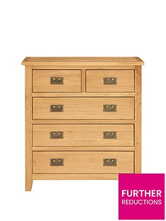 London Ready Assembled 3 + 2 Drawer Oak Chest