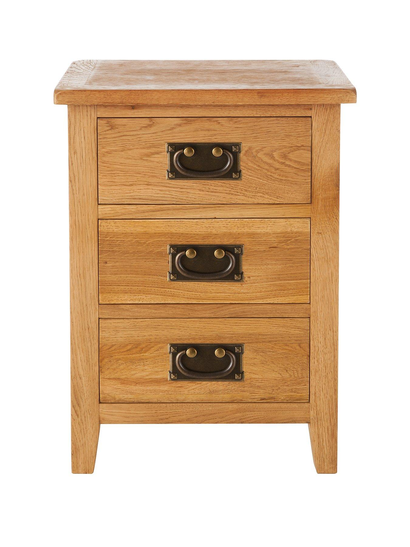 London Ready Assembled 3 Drawer Oak Bedside Cabinet