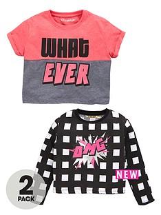 freespirit-girls-neon-slogan-tops-2-pack