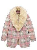 Girls Check Boyfriend Coat with Fur Collar