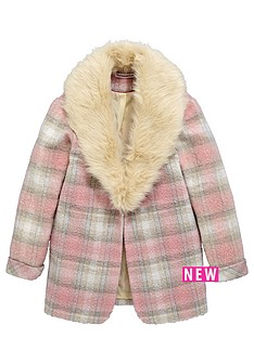 freespirit-girls-check-boyfriend-coat-with-fur-collar