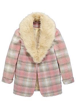 Freespirit Girls Check Boyfriend Coat with Fur Collar
