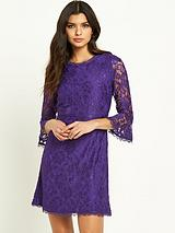 Fluted Sleeve Lace Skater Dress