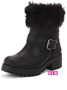 shoe-box-perditanbspfaux-fur-cuff-casual-buckle-bootnbsp