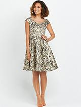 Animal Jacquard Bardot Prom Dress