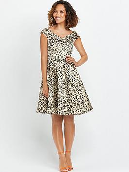 Myleene Klass Animal Jacquard Bardot Prom Dress