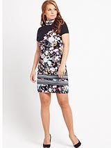 Coleeen Printed Embellished High neck dress