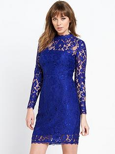 definitions-petite-long-sleeve-bow-back-lace-dress
