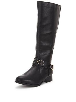So Fabulous Tyra Stud Detail Knee Boot Back Elastic Black Extra Wide Fit