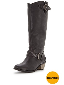 shoe-box-shelby-western-detail-studded-calf-boot-standard-fit-black