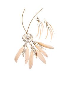 feather-detail-boho-necklace-amp-earring-setnbsp