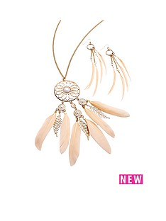 feather-detail-boho-necklace-ampamp-earring-setampnbsp