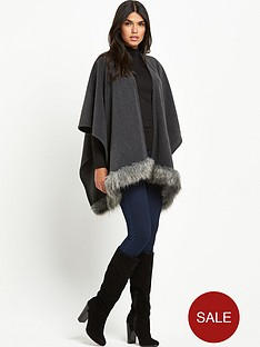 lipsy-wax-grey-fur-trim-blanket