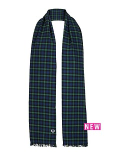 fred-perry-tartan-scarf-navy