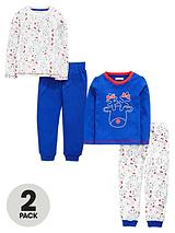 TODDLER GIRLS 2 PACK FUN RUDOLF PRINT PYJAMAS 1-7 YEARS