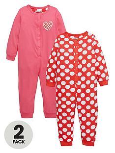 ladybird-girls-spotty-and-heart-printnbspsleepsuitsnbsp2-pack-12-months-7-years