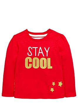 Ladybird Girls Stay Cool Glitter Slogan Top - 12 months - 7 years