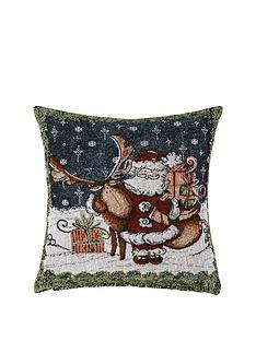 hamilton-mcbride-santa-amp-reindeer-tapestry-cushion