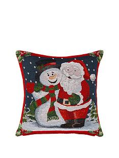 hamilton-mcbride-santa-amp-snowman-tapestry-cushion