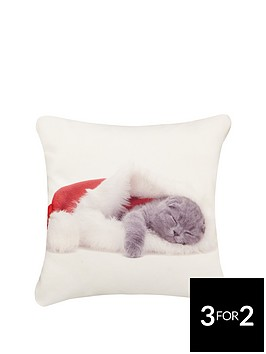hamilton-mcbride-christmas-kitten-cushion