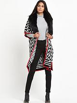 Faux Fur Trim Jacquard Blanket Cape