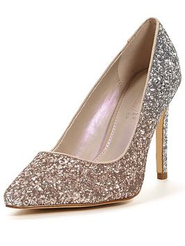 So Fabulous Nessa Extra Wide Fit Point Court Graduated Glitter - Silver/Gold
