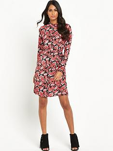 south-printed-long-sleeved-belted-shirt-dress