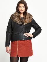 Detachable Faux Fur Collar PU Biker Jacket