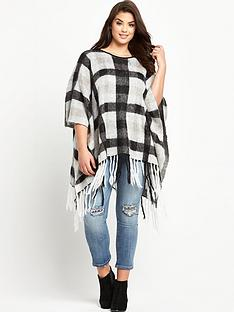 so-fabulous-brushed-check-tassel-poncho-one-size