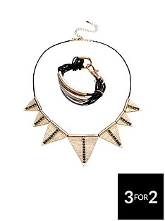 2pk-triangle-drop-necklace-and-multinbsplayer-metal-detail-cuffnbsp