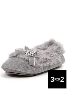 sorbet-mimosa-grey-fur-lined-ballerina-with-embellisment