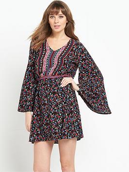 South Folk Print Angel Sleeve V-Neck Dress