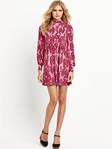 Printed Turtle Neck Swing Dress
