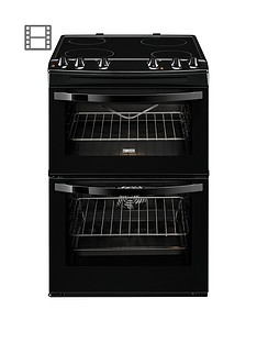 Zanussi ZCV68010BA 60cm Electric Freestanding Double Oven - Black