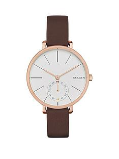 skagen-hagan-gold-tone-case-brown-leather-strap-ladies-watch