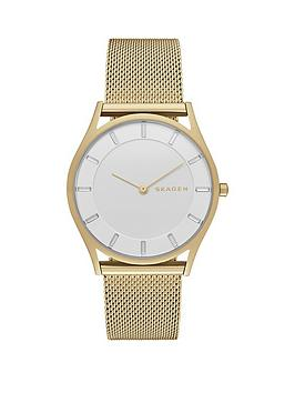 skagen-slim-holst-gold-tone-stainless-steel-mesh-bracelet-ladies-watch