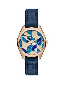 Armani Exchange Blue Mosaic Dial And Dark Blue Leather Strap Ladies Watch