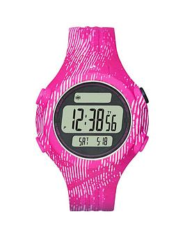 adidas Performance PositiveDisplay Dial, Pink Animal Print Strap Ladies Watch