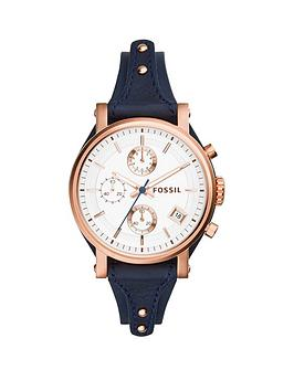 Fossil Fossil Original Boyfriend Rose Gold-Tone Case With Blue Leather Strap Ladies Watch