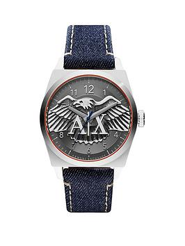 Armani Exchange Gunmetal Grey Dial And Denim Strap Mens Watch